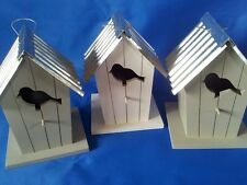 Bird Houses, Wooden with metal roof,Painted white/grey, Hanging, Predator Proof