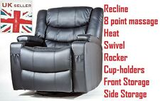 Black OR Brown Leather Cinema Massage Rock Heat Recliner Chair Gaming Reclining