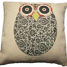 """OWL CUSHION COVER  LUXURY TAPESTRY QUALITY BEIGE/BROWN 18 x 18"""" 45 x 45cm"""