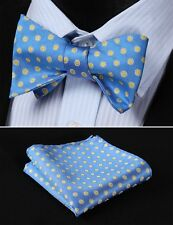 BF2020B Blue Yellow Floral Silk Woven Men Self Bow Tie handkerchief set