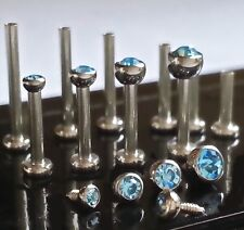 18g 1.5, 2, 2.5 or 3mm AQUA CZ Gem Threaded Nose Nostril Stud Bone Screw Jewelry