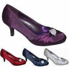 NEW SATIN DIAMANTE WEDDING EVENING LOW MID HEEL COURT PUMP SHOES UK 3 4 5 6 7 8