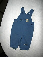Small Wonders-Blue Knit Overalls w/ Button Sides & Snap Crotch, Pup Fishing