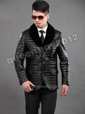 Mens100% Real Sheep Leather Down coat Jacket with Rex Rabbit Fur Collar Warm New