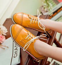 Womens Girl Brogue Oxford Flat Lace Up Dress Retro College Dress Shoes Plus Size