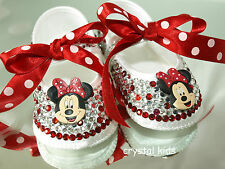 Baby Girls Reborn Red White Crystals Bows Minnie Mouse Satin Shoes 0 - 12 Mths