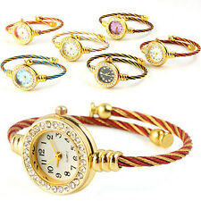 Hot Fashion Women's Girl's Steel Wire Crystal Quartz Bracelet Bangle Wrist Watch