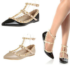 New 2014  Women Strappy Rock Studded Ankle Strap Flat Fashion Shoes