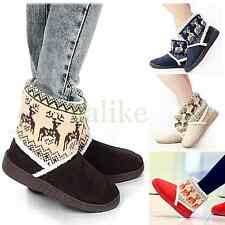 Women's Deer Printing Warm Snow Boots Slip On Ankle Flats Winter Thicken Shoes
