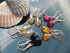 Earrings 16mm Baroque Crystal 925 Silver made with Swarovski Elements colors