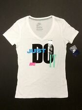 Nike 575647-100 Womens Slim Dri-Fit JUST DO IT Cotton V Tee T-Shirt White $25