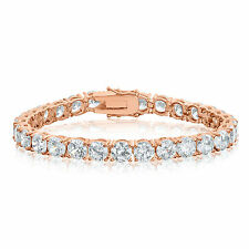 White Cubic Zirconia 36+cwt Round 6mm CZ Tennis Bracelet in 18k Rose Gold Plated