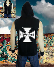 New Men's Choppers Cross Biker Black Vest Tank Zipper Hoodie harley bike club