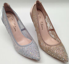 NEW Blossom WEDDING HOLIDAY Nude Silver Lace Rhinestone Pointed Toe Pump Shoes