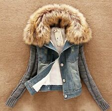 Hot!women Ladies girls Lamb Fur Collar Slim Short Jean denim Jacket Coat outwear