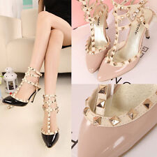 Summer Women High Heel Pointed Toe Ankle Strap Rivet Shoes Sandal Black Pink