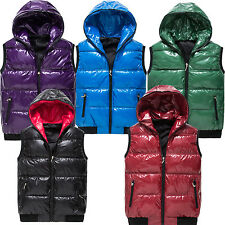 MEN HOODED PU LEATHER CASUAL DOWN  OUTDOOR QUILTED JACKET PUFFER SLIM COAT VEST