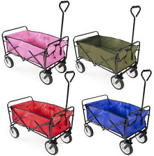Collapsible Folding Wagon Cart Garden Buggy Shopping Beach Toy Sports Red/Blue