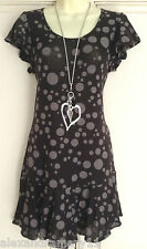 NEW Ex French Connection Black & Grey Spot Print Frill Hem Tunic Dress 6 - 16