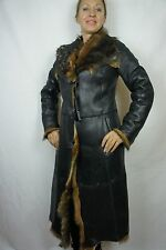 100% Real Sheepskin Shearling Leather Long Haired Toscana Coat Jacket S-XL NWT