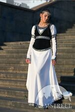 "Medieval Costume , Medieval White Cotton Dress And Bodice ""Chess Queen"""