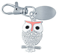 Ladies custom engraved / personalised owl keyring with velvet gift pouch - PL31