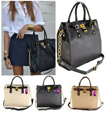 Ladies Designer Style Padlock Tote Chain Satchel Shoulder Handbag Zipped Bag
