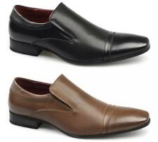Giovanni Mens Leather Lined Square Toe Slip On Formal Office Smart Ribbed Shoes