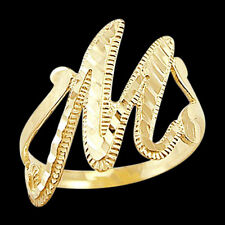 Letter Ring M Initial Band 14k Yellow Gold Cursive Alphabet