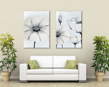 BEAUTIFUL JAPANESE FLOWER CANVAS PAIR  DUCK EGG /GREEN / WHITE GREY PRINT