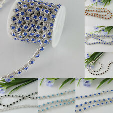 1 Yd Crystal Rhinestone Silver Tone Chain Sewing Trims Flowers Applique Trim