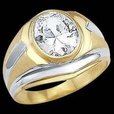Men's Solitaire Ring Cubic Zirconia 14k White Yellow Gold Band 3.00 CT