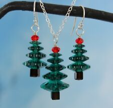 Emerald Green & Cherry Red Christmas tree sterling silver necklace & earring set
