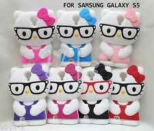 Cute 3D HELLO KITTY Nerd Glasses Silicone Case Cover for Samsung GALAXY S5 i9600
