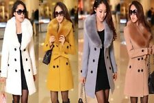 Women's Wool Faux Fur Trench Parka Double-Breasted Winter Coat Jacket 7 Color
