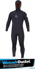 Rip Curl E-Bomb 5/3mm HOODED Chest Zip Wetsuit in Black WSM00E