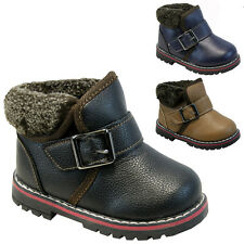 **BOYS WINTER VELCRO BOOTS BABIES PARTY TODDLERS WARM FUR ANKLE INFANTS SHOES