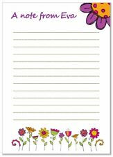 na Personalised NOTELETS lined writing paper pk 16 & envs, notes, A6 FLOWERS