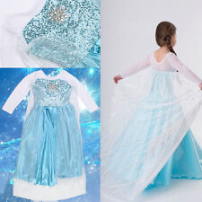 FROZEN Costume Elsa Dress Up Gown Queen Princess Birthday Girls Kids Party Dress