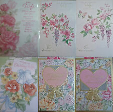 Wedding Anniversary Card - Wife - 1 pc, Choice of 6 designs