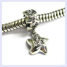 STR Silver Sea Star Fish Crystal Dangle Screw on Bead f/ European Charm Bracelet