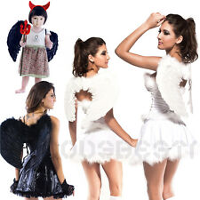 ADULTS KIDS FEATHER ANGEL FAIRY WINGS FANCY DRESS HALLOWEEN COSTUME ACCESSORY