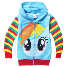 New My Little Pony Kids Boys Girls Funny Zipper Coat Hoody Clothing 3-8 Years