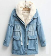 Thicken Womens Denim fur lining warm trench long hooded coat jacket blue winter
