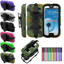 Military Duty Rugged Heavy Duty 3-Proof Combo Case +Belt Clip for Samsung Phones