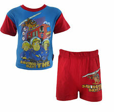 Boys Fireman Sam Cotton Shortie Pyjama Set Blue and Red - All Ages