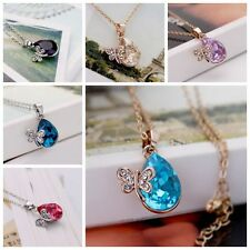 1x NEW Stylish Fashion Silver Gold Tone Dragonfly&Heart Crystal Pendant Necklace