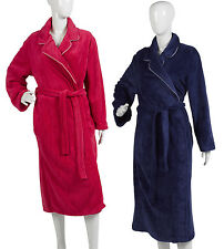 Womens Plain Satin Trim Dressing Gown Ladies Luxurious Coral Fleece Bath Robe