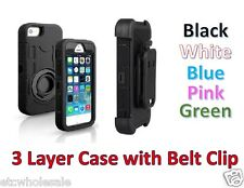For iPhone and Galaxy 360 Degree Hybrid Shock proof Heavy Duty Case w/ Belt Clip
