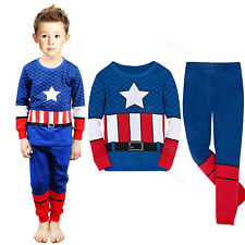 Boys Toddler Captain America Super Heros Pajamas Kids T-shirt Costume Gift Set